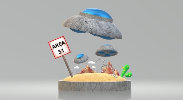 Ufo-bereich 3d-rendering