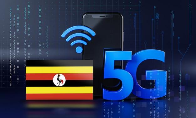 Uganda bereit für 5g-verbindungskonzept. hintergrund der 3d-rendering-smartphone-technologie