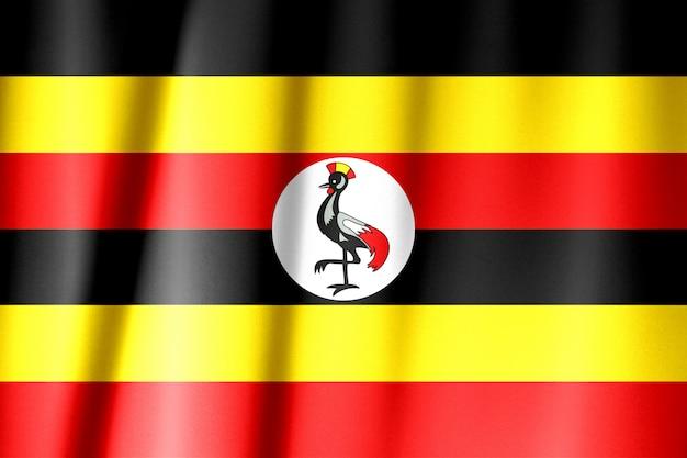 Uganda-flagge auf einem seidentuch, das winkt