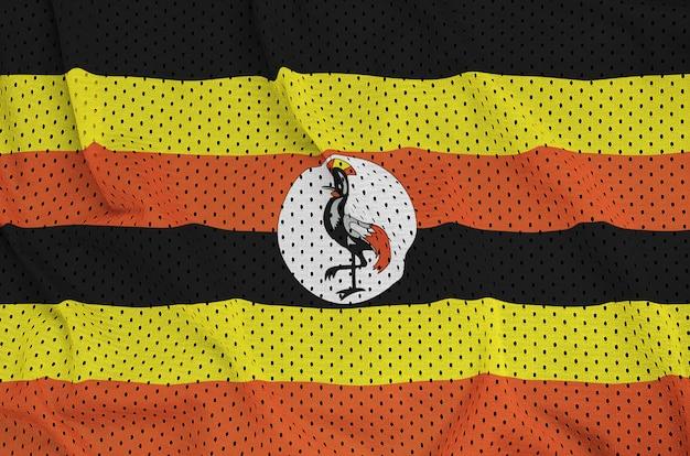 Uganda-flagge auf einem sportbekleidungsgewebe aus polyester-nylon gedruckt