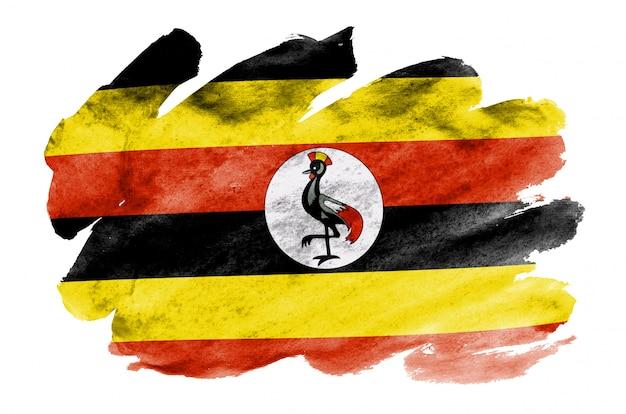 Uganda-flagge wird in der flüssigen aquarellart dargestellt, die auf weiß lokalisiert wird
