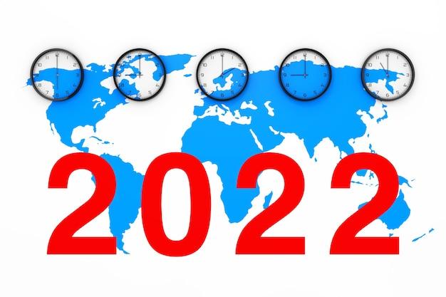 Uhrenset mit unterschiedlicher weltzeit, blauer weltkarte und neuem 2022-jahres-zeichen auf weißem hintergrund. 3d-rendering