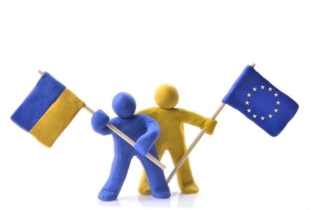 Ukrainische flagge und die flagge der europäischen union
