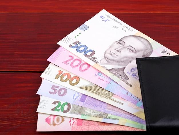 Ukrainische griwna in der schwarzen geldbörse