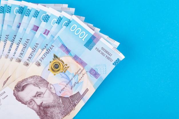 Ukrainische griwna, mehrere banknoten von 1000 griwna. finanzieller hintergrund von den ukrainischen banknoten. geld hintergrund.