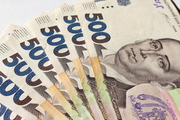 Ukrainisches geld fünfhundert hryvnias nahaufnahmefoto