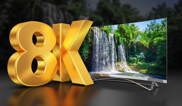 Ultra hd tv mit blick auf den wunderschönen wasserfall