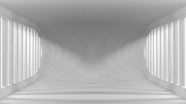 Ultra moderner konzeptioneller leerer innenraum mit lichtstrahlen von den fenstern für ihre gegenstände.