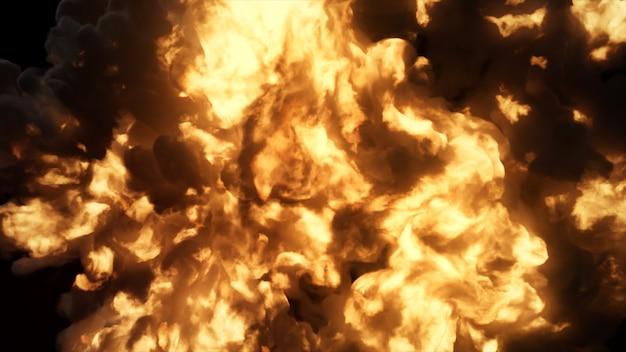 Ultra realistische explosion mit dickem schwarzem rauch auf einem isolierten schwarzen hintergrund