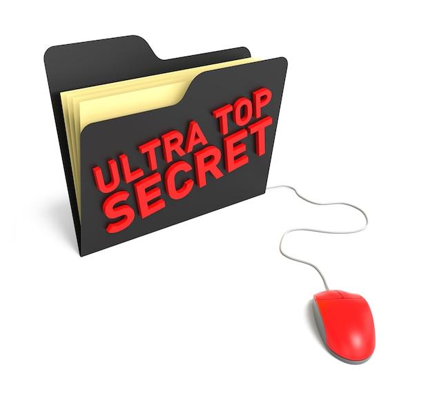 Ultra top secret-ordner. isolierter weißer hintergrund