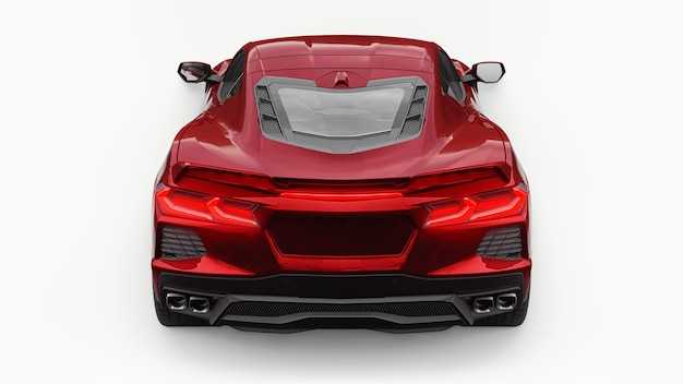 Ultramoderner roter supersportwagen mit mittelmotor-layout auf weißem, isoliertem hintergrund. ein auto für rennen auf der strecke und auf der geraden. 3d-darstellung.