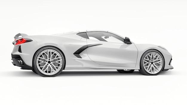 Ultramoderner weißer supersportwagen mit mittelmotor-layout auf weißem, isoliertem hintergrund