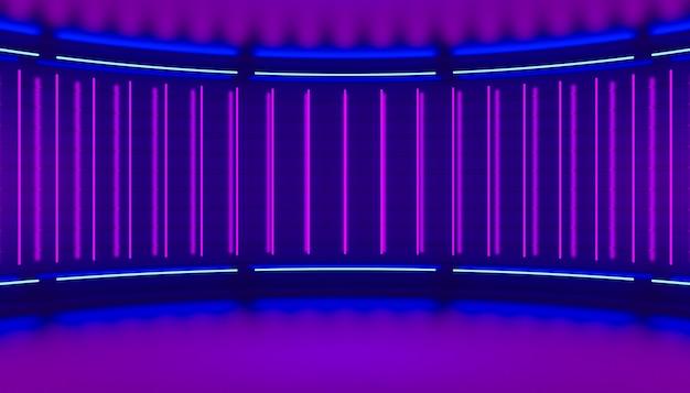 Ultravioletter minimalistischer abstrakter 3d-hintergrund. neonlicht von lampen an den wänden der runden bühne. 3d-darstellung.