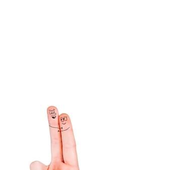 Umarmende finger mit gesichtern