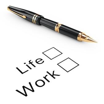 Umfrage-konzept. checkliste für leben oder arbeit mit goldenem füllfederhalter auf weißem hintergrund. 3d-rendering