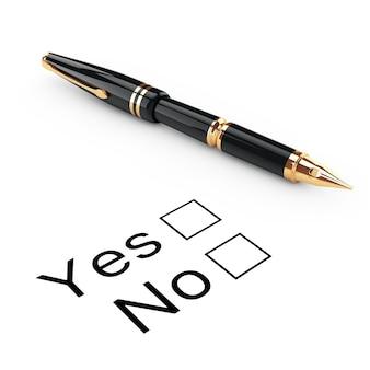 Umfrage-konzept. ja oder nein-checkliste mit goldenem füllfederhalter auf weißem hintergrund. 3d-rendering