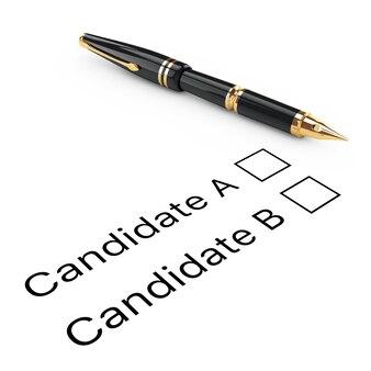 Umfrage-konzept. kandidat a oder b checkliste mit goldenem füllfederhalter auf weißem hintergrund. 3d-rendering
