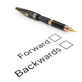 Umfrage-konzept. vorwärts- oder rückwärts-checkliste mit goldenem füllfederhalter auf weißem hintergrund. 3d-rendering