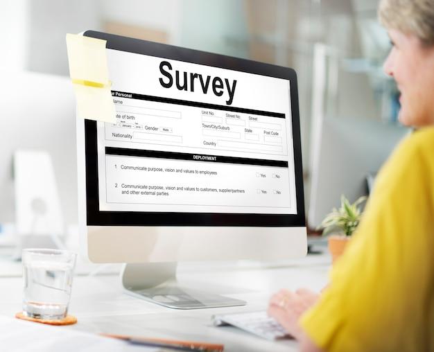 Umfrageformular forschungsmarketing-markierungskonzept