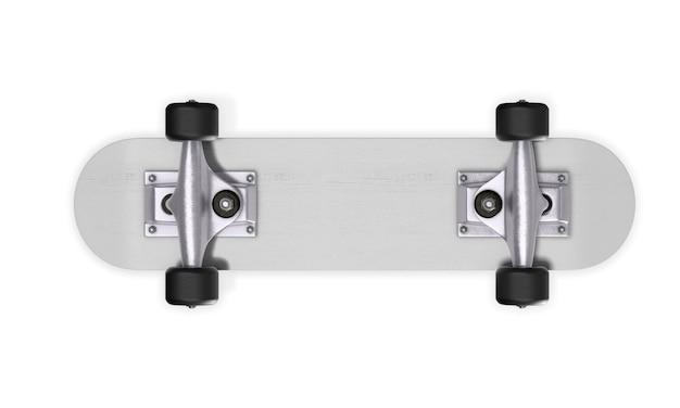 Umgekehrtes skateboard auf weiß. 3d-rendering.