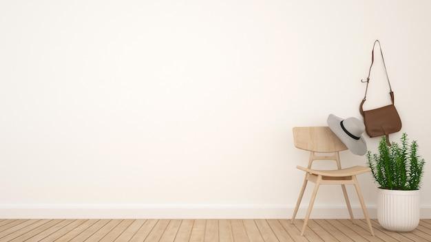 Umkleidekabine und platz für kunstwerke - wiedergabe 3d