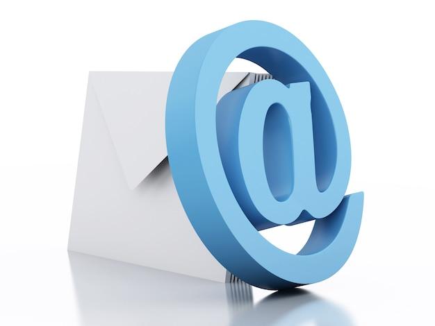 Umschläge 3d mit email unterzeichnen auf weißem hintergrund