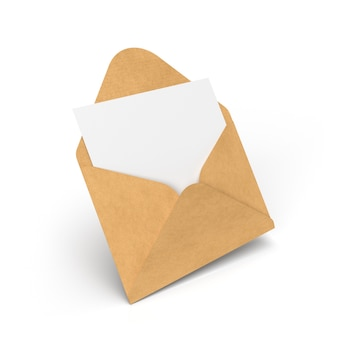 Umschlag mit brief isoliert auf weiß. 3d-illustration