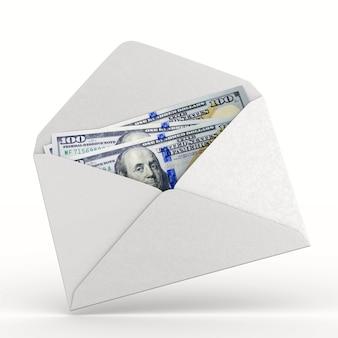 Umschlag mit geld auf weißem hintergrund. isolierte 3d-darstellung