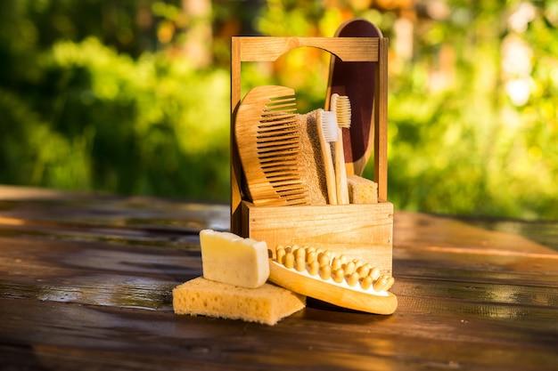 Umweltfreundliches bambus-badezimmer-konzept ohne abfall
