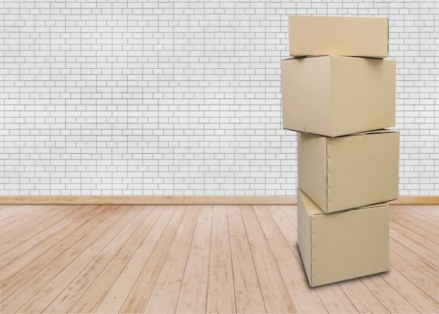 Umzug in neues zuhause. leerer raum mit kartons