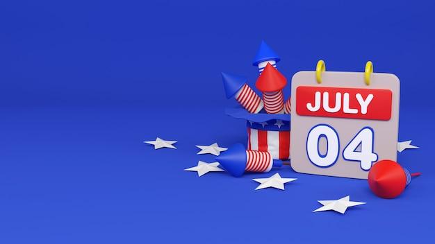 Unabhängigkeitstag am 4. juli usa-display-podium mit feuerwerk konfettiband kopieren raumtext, 3d-rendering-darstellung.