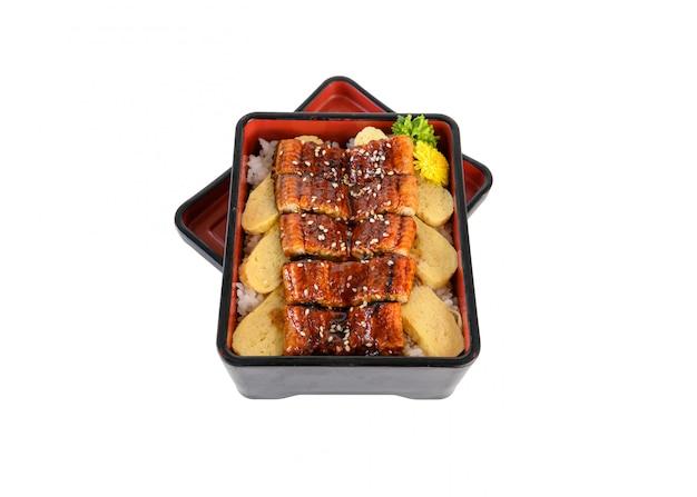 Unagi don oder japanische elle, gegrillt mit kabayaki-sauce und tamago im bento