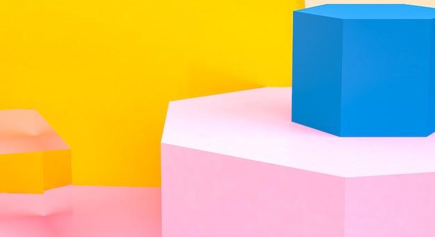 Unbedeutende abstrakte ursprüngliche geometrische zahlen, pastellfarben, 3d übertragen