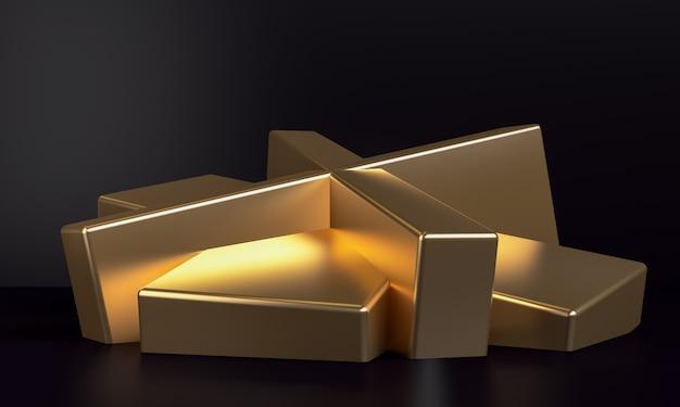 Unbedeutender abstrakter hintergrund, goldprimitive geometrische zahlen, 3d übertragen.