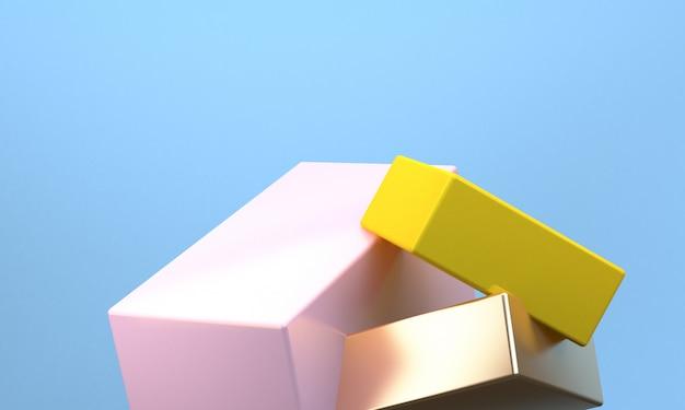 Unbedeutender abstrakter hintergrund, ursprüngliche geometrische zahlen, 3d übertragen.