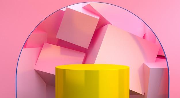 Unbedeutender abstrakter hintergrund, ursprüngliche geometrische zahlen, pastellfarben, 3d übertragen.