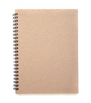 Unbelegtes notizbuch getrennt auf weiß