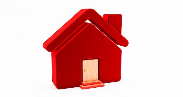 Und rotes haus auf weißer wand. idee für ein immobilienkonzept