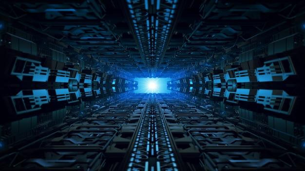 Unendlicher korridor des raumschiffinneren der futuristischen designillustration 3d