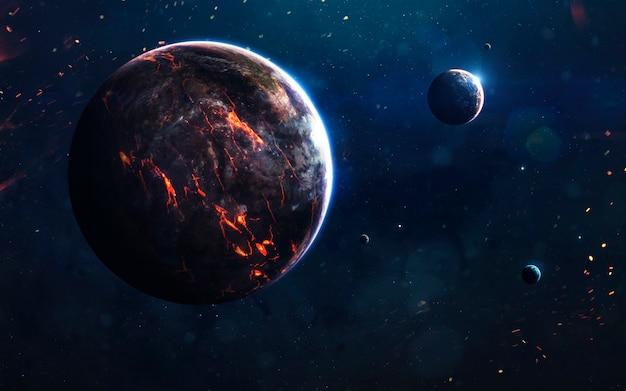 Unerforschte planeten des fernen weltraums.