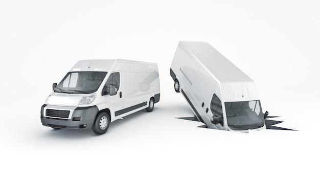 Unfallauto mit autoversicherung 3d-rendering