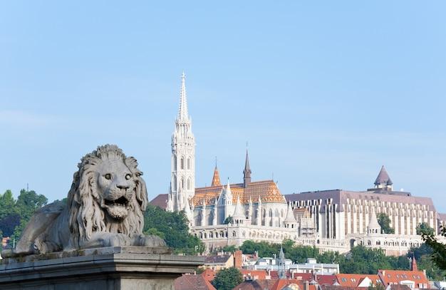Ungarisches wahrzeichen, budapest-morgenansicht