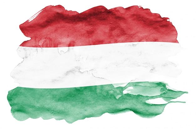 Ungarn-flagge wird in der flüssigen aquarellart dargestellt, die auf weiß lokalisiert wird