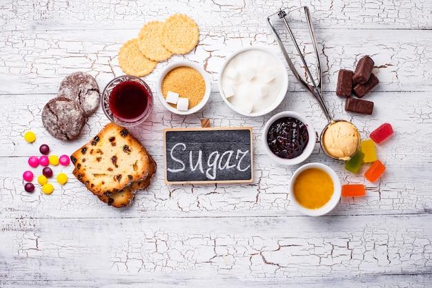 Ungesunde produkte mit hohem zuckergehalt