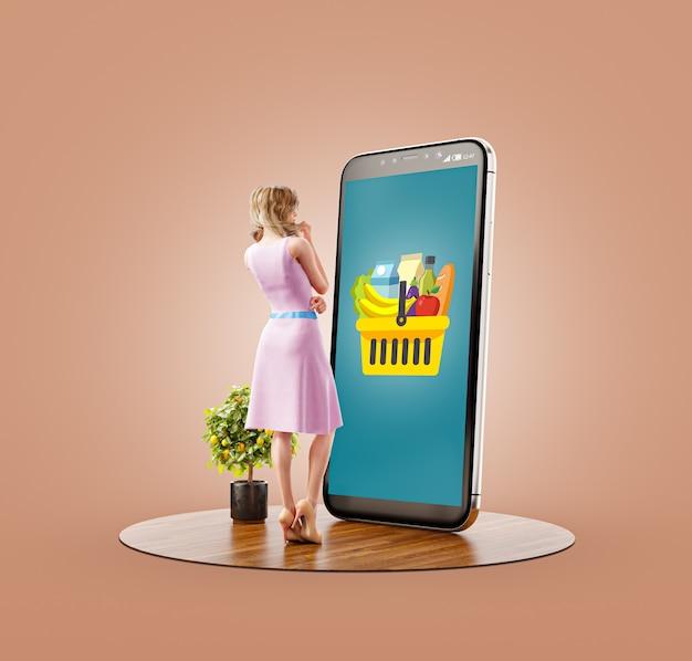 Ungewöhnliche 3d-darstellung einer jungen frau, die am großen smartphone steht und online-lebensmittelbestellungen tätigt. konzept der food delivery-apps. online-lebensmitteleinkauf.