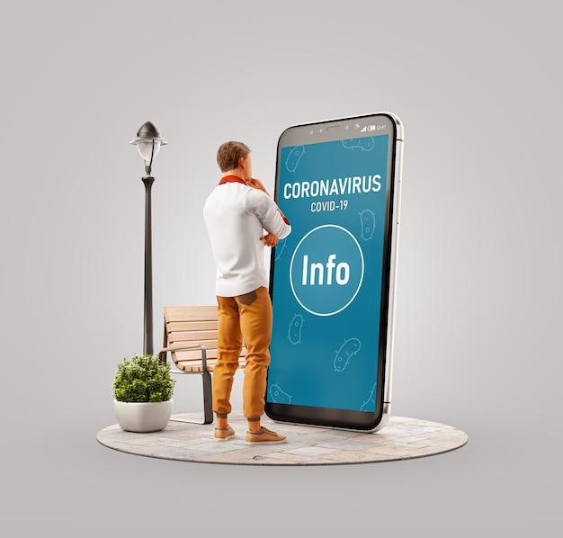 Ungewöhnliche 3d-darstellung eines mannes, der auf einem großen smartphone steht und informationen über coronavirus liest