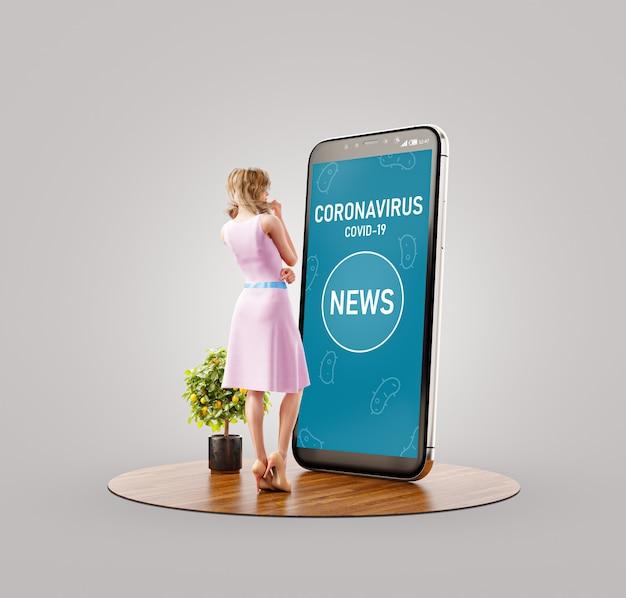 Ungewöhnliche 3d-illustration einer frau, die auf einem großen smartphone steht und nachrichten über coronavirus liest