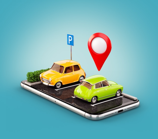 Ungewöhnliche 3d-illustration os smartphone-anwendung für die online-suche nach freien parkplätzen auf der karte.