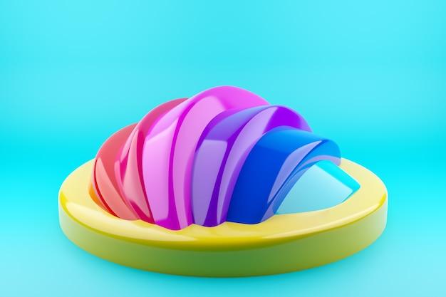 Ungewöhnliche mehrfarbige geometrische form der 3d-illustration auf einem blauen hintergrund. nahaufnahme einer nicht standardmäßigen szene ähnlich der rückseite eines gürteltiers