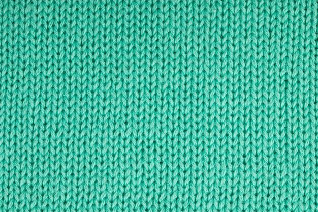 Unifarbener strickstoff aus mintgrünem baumwollgarn